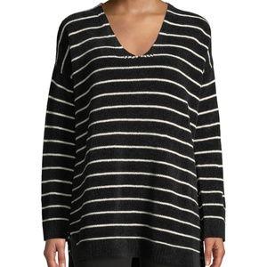 Eileen Fisher Chenille Sweater Black Stripe Tunic
